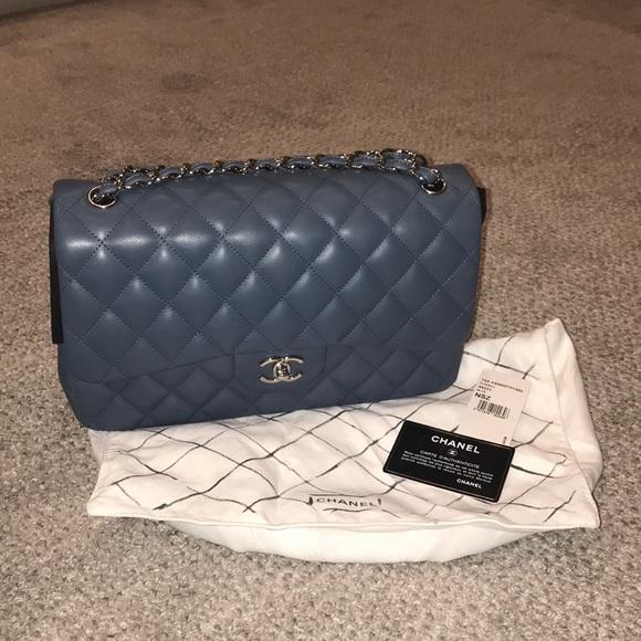 bc63bee8bcac CHANEL Handbags - Chanel light blue jumbo double flap